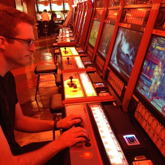 Bob 'plays' Street Fighter in Japan.
